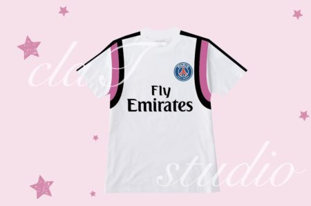 白のサッカーユニフォームクラスtシャツ_fv