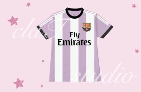 紫のサッカーユニフォームクラスtシャツ_fv