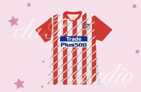 赤のサッカーユニフォームクラスtシャツ_fv