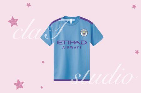 青のサッカーユニフォームクラスtシャツ_fv