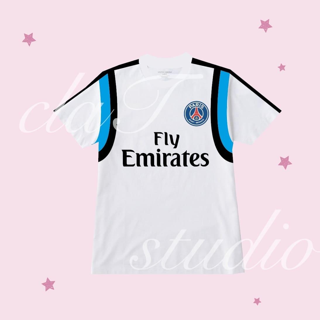 青のサッカーユニフォームクラスtシャツ_image_0001