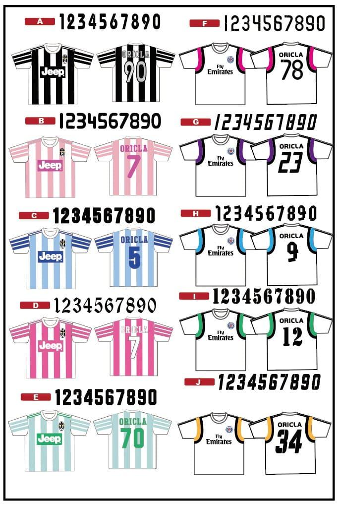 クラスTシャツの数字フォント一覧