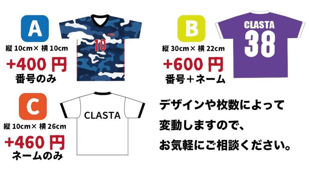 クラスTシャツの背ネームの料金